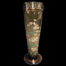 Legras aka Mont Joye Decorated Victorian Art Nouveau Art Glass Vase
