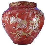 Loetz Monumental & Important 1893 Worlds Fair  Columbian Exhibition Karneol Decorated Vase