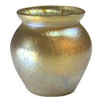 "Loetz Candia Papillon Vase with RARE engraved crossed arrows & stars circular mark signed ""Austria"" c.1898"