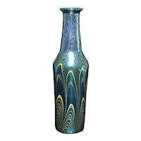 Early Lundberg Studios Art Nouveau Hand Blown and decorated Art Glass Vase 1978