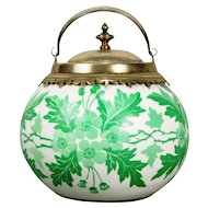 Thomas Webb or Mt Washington Cameo Glass Biscuit Jar