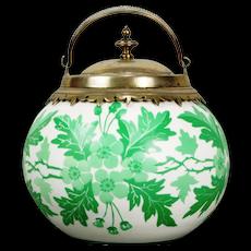 Thomas Webb or Mt Washington Cameo Glass Biscuit Jar