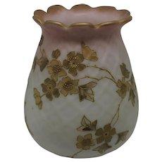 Mt Washington Signed Crown Milano Simulated Burmese Vase