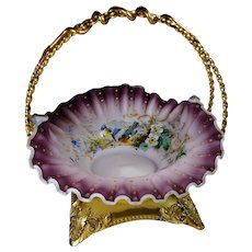 Mt Washington Satin Glass Brides Basket in Gold Plated