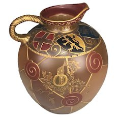 RARE Mt. Washington Royal Flemish Heraldic Shields Vase