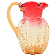 Rare Phoenix Art Glass Lobed ZIG-ZAG Pattern AMBERINA Pitcher