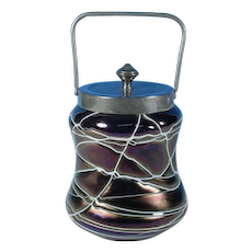 Pallme-König / Glasfabrik Elisabeth  Threaded Glass Biscuit Jar