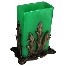 Steuben Green Jade Vase with Original Patinated Bronze Holder Shape No. 6199