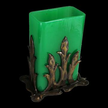 Steuben Green Jade Vase with Original Patinated Bronze Holder Shape No. 6199