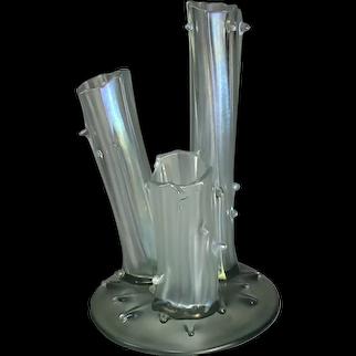 """Frederick Carder Steuben Verre de Soie """"Tree Stump"""" Vase Shape No. 2744"""