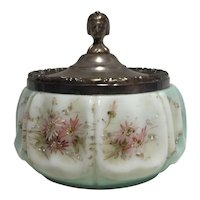 Signed C.F. Monroe Wave Crest Blown Out Decorated Covered Jar with Egyptian Revival Lid Wavecrest