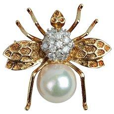 Estate 14K Gold Bee Pin/Pendant with Pearl & Diamonds