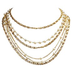 Vintage Signed Coro Multi-strand Goldtone Necklace with Faux Pearls