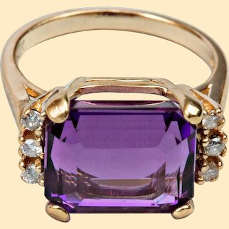Vintage Estate 8.45 ct Amethyst & Diamond Ring 14kt Gold Ring Size 7.25