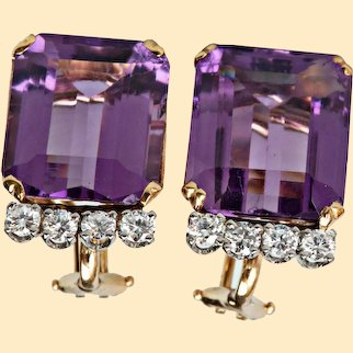 Vintage Estate Amethyst & Diamond Earrings 14kt Yellow and White Gold