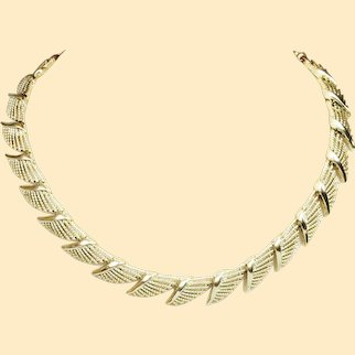 Vintage Coro Golden Feather Necklace