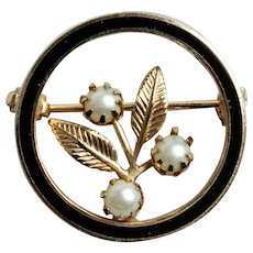 Vintage Black Enamel Circle Pin with Faux Leaves and Faux Pearls