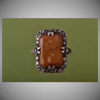 Silver Art Deco Ring With Marcasite