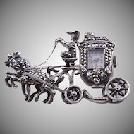 Silver Vintage 50's Horse And Carriage Monarch Brooch Watch