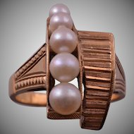14ct Yellow Gold 1960's Retro Ring With Cultured Pearls