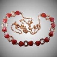 Silver Gilt And Enamel 1950's Retro Scandinavian Heart Necklace