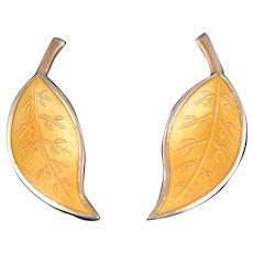 Silver Gilt And Enamel ''David-Andersen'' Clip On Earrings