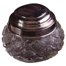 Crystal 1920's Jar With A Silver Lid