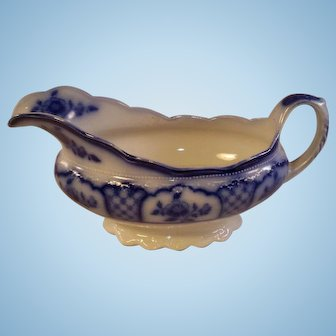Flow Blue WH Gringley Melbourne Gravy Boat - English 19th Century