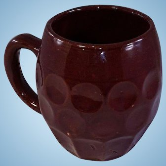 Hull Stoneware Brown Mug marked 493 Barrel-Shaped with Dimples