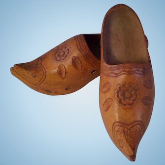 Small Pair of Carved Wooden Clogs with Heels