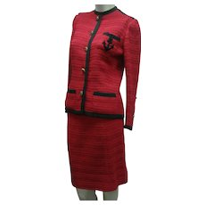 Vintage Chanel Suit Red COUTURE LABEL 1970's