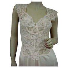 Rare Pink Olga Nightgown Full Lace Bodice Size Large