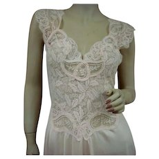 Rare Pink Olga Nightgown Full Lace Bodice Size Large