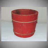 Small Firkin Bucket w Red Paint