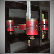 Red Toleware & Glass Chandelier Hanging Light Fixture