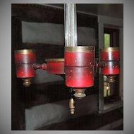 Red Toleware & Glass Chandelier Hanging Light Fixture