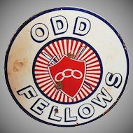 Porcelain Enamel Odd Fellows Sign IOOF Lodge