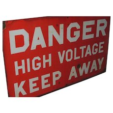 Vintage Porcelain Enamel Sign Danger High Voltage