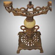 Art Nouveau Deco Cast Iron and Slag Glass Candelabra Lamp