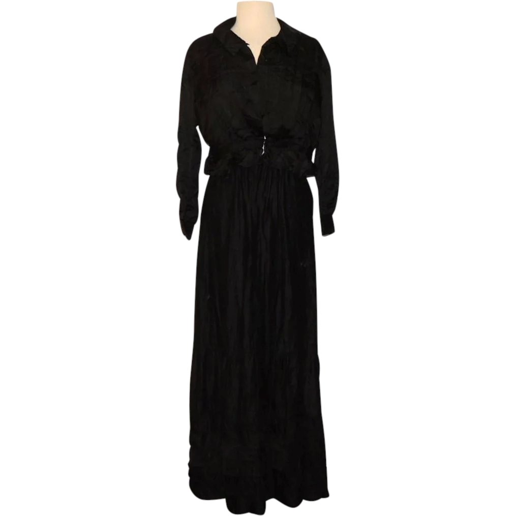 13ee32a97a9a3b Late Victorian Edwardian Black Silk Mourning Shirtwaist Blouse and    Conjunktion Junktion Antiques