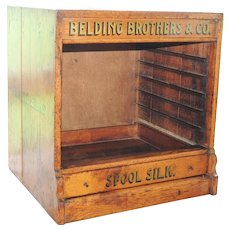 Belding Brothers Silk Spool Thread Oak Cabinet Display Case