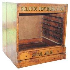 Belding Brothers Silk Spool Thread Oak Cabinet Display Case