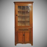1850 Antique Primitive 2 Pc Corner Cupboard