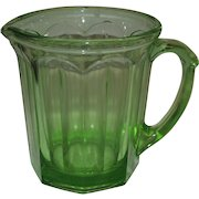 Hazel Atlas AJ Green Depression Egg Beater Glass Pitcher