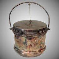 Vintage Silver Ice Bucket Vacuum Insulated w Hinged Lid