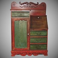 Antique Side by Side Secretary Desk with Decorated Red Green Paint