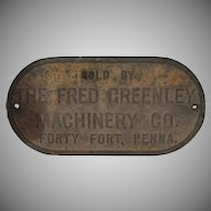 Cast Iron Trade Sign Fred Greenley Machinery Forty Fort PA
