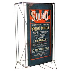 Vintage Shino Mop Wire Rack Store Display & Sign