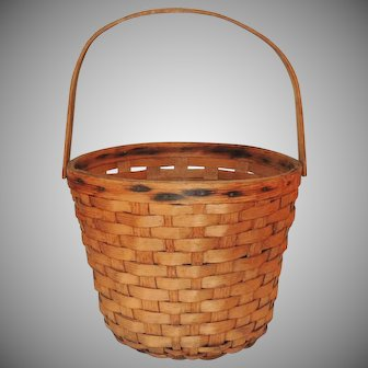 Woven Oak Splint Bucket Basket w Bentwood Handle