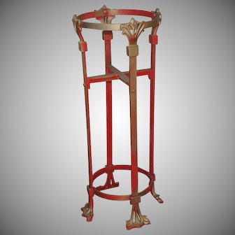 Art Nouveau Deco Cast Iron Metal Plant Stand Jardiniere Holder Pedestal